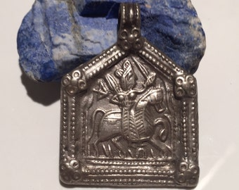 Antique Pendant-Indian Godess-Rajasthani Rider-silver Amulet-Collectible-Vintage-Ethnic-Tribal-Antique Shop