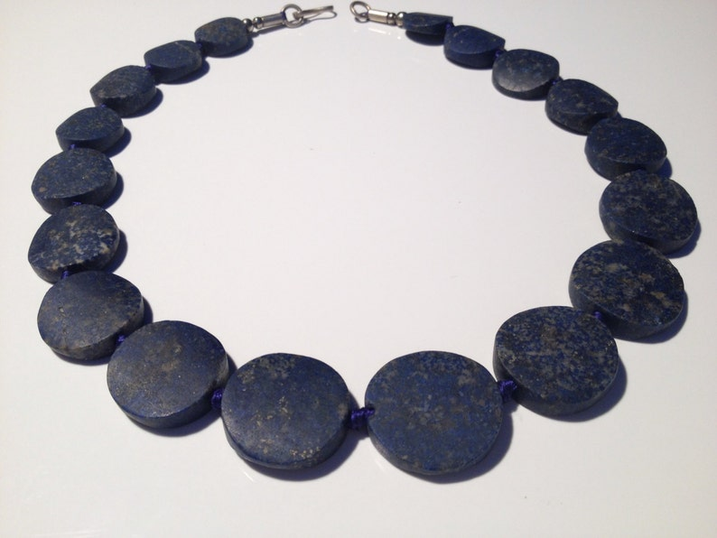 NATURAL polished Lapis Lazuli Beads strand necklace from Afghanistan