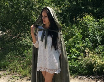 Khakki Green Hooded Cloak with cotton Lace, Hooded Cape