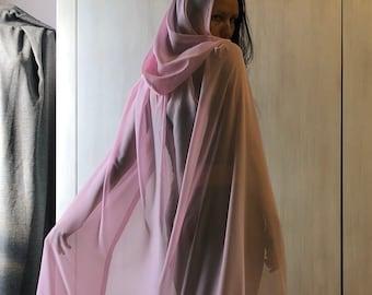 Chiffon Hooded Cape, Silk Cape, Cosplay Cloak, Sheer Hooded Cloak, Wedding Cloak, Sheer Hooded Cloak