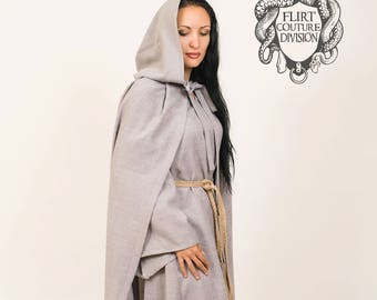 Hooded Linen Cloak, Hooded Linen Cape, Medieval Unisex Cloak, cape viking, unisex cape