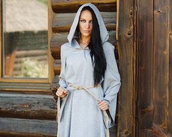 Linen Long Hooded Dress with belt, Linen Maxi Dress, Cotton dress, Long Linen Dress