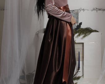 Chocolate Brown Long Satin Skirt