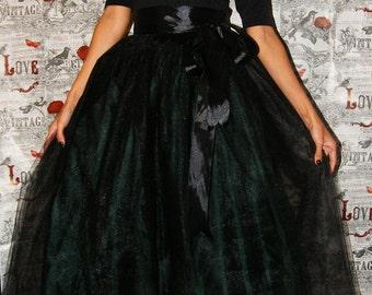 Black Green Full Length Tulle Tutu Skirt, Red and Black Tulle Skirt