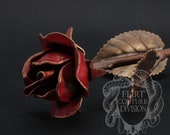 Anniversary Gift Metal Rose, Iron Rose, hand forged Rose, Red Rose, Metal Sculpture, 6 Year Wedding Anniversary