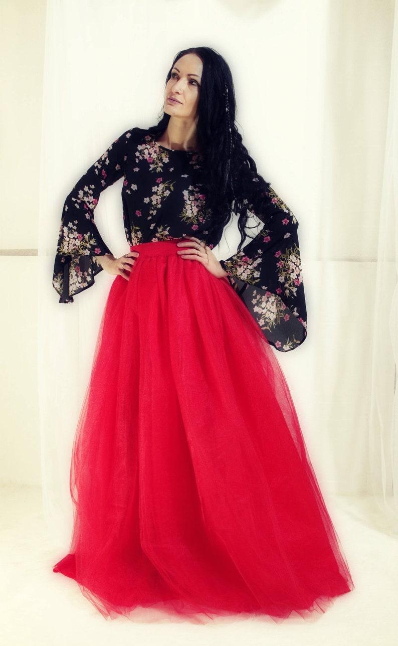 8ac9c2bbcc Red Adult Full Length Tulle Skirt Red Long Tutu Skirt Maxi | Etsy