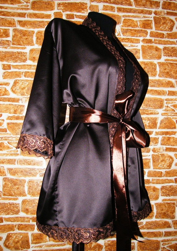 67ddbbcdf3 Chocolate Brown or Gold Satin Peignoir Nightgown Lingerie Robe with lace
