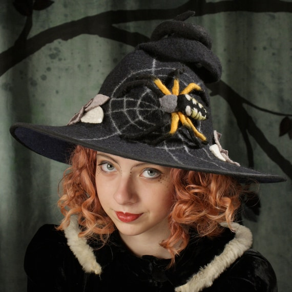 Witch Hat in Black with Large Spider Spiderweb and Leaves  04e07b049f8