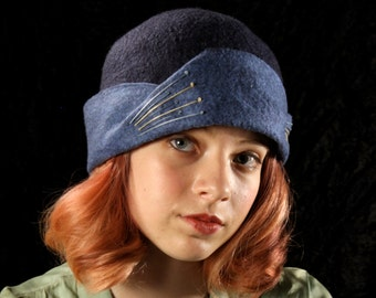 Cloche Hat in Navy and Copenhagen Blue Felted Wool w/Contrasting Embroidery - Hand Felted Wool Hat - Blue Wool Hat - 1930's Style Cloche
