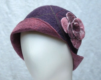 Reversible Cloche Hat in Purple and Mauve Wool w/Removable Flower Pin - Flower Cloche - Wool Felt Hat -  Wool Cloche -  Mauve Camelia