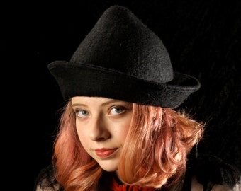 Black Witch Hat - Fleur Delacour Inspired Hat - Black Hand Felted Wool