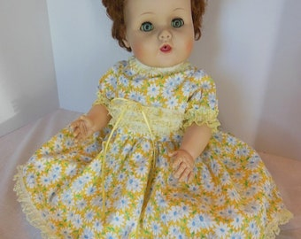 "Yellow Daisy Print Dress Set for American Character 20"" Toodles Baby"