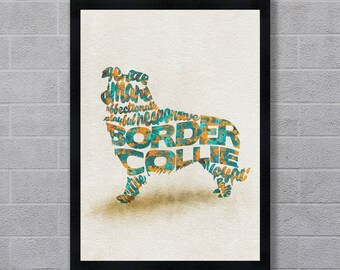 Border Collie Dog Typographic Watercolor Painting, Border Collie Art Print Poster, Border Collie Portrait, Dog Memorial Gift for Dog Lovers