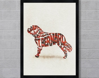 St. Bernard Dog Typographic Watercolor Painting, St Bernard Art Print, Saint Bernard Gifts Poster / Colorful Dog Portrait, Dog Memorial