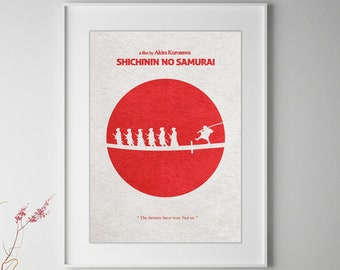 Seven Samurai (Shichinin no samurai) Minimalist Alternative Movie Print & Poster