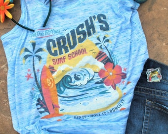 Crush's Surf School - Flowy Tank // original design by Brand By You // rip it, roll it, punch summer surf camp tee