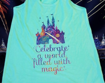 Celebrate a Wolrd Filled with Magic - Flowy Tank // castle fireworks show, going to Disney, wishes do come true, summer night in the park