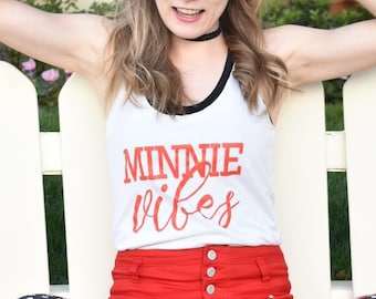 Minnie Vibes - Triblend Racerback Tank // minnie mouse inpsired spring summer going to disney tank, rock the dots, minnie style, mouse ears
