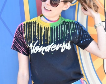 Wonderful - Unisex Paint Dyed Tee // original Brand By You / inspired by World of Color, carousel of color, disney paradise pier, pixar pier