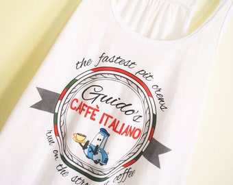 Guido's Caffe Italiano - Flowy Tank // original design by Brand By You, cars land, radiator springs, flos v8 cafe, lightning mcqueen racers