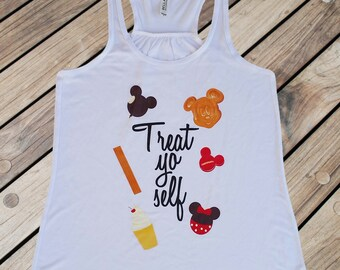 Treat Yo Self - Flowy Tank // original design by Brand By You // parks and recreation, funny disney shirt, disney treat, waffle, dole whip
