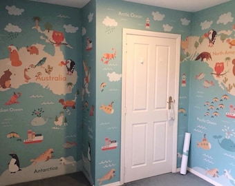 Animal world murals etsy removable wallpaper peel and stick wallpaper world map wallpaper kids wallpaper self adhesive wallpaper world map mural world map gumiabroncs Choice Image