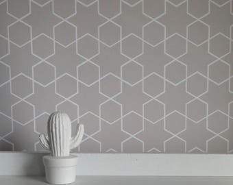 Removable Wallpaper, Peel and stick wallpaper, wallpaper, grey wallpaper, star wallpaper, Morocco print, Removable wallpaper, self adhesive