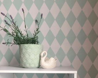 Removable Wallpaper, Peel and stick wallpaper, wallpaper, Diamond wallpaper, Geometric wallpaper, Self adhesive wallpaper, blue wallpaper