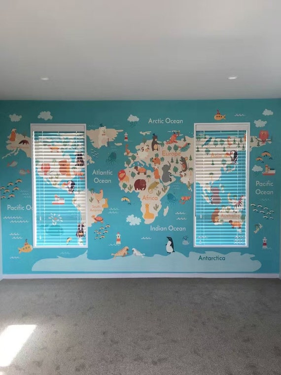 Removable Wallpaper Peel And Stick Wallpaper World Map Etsy