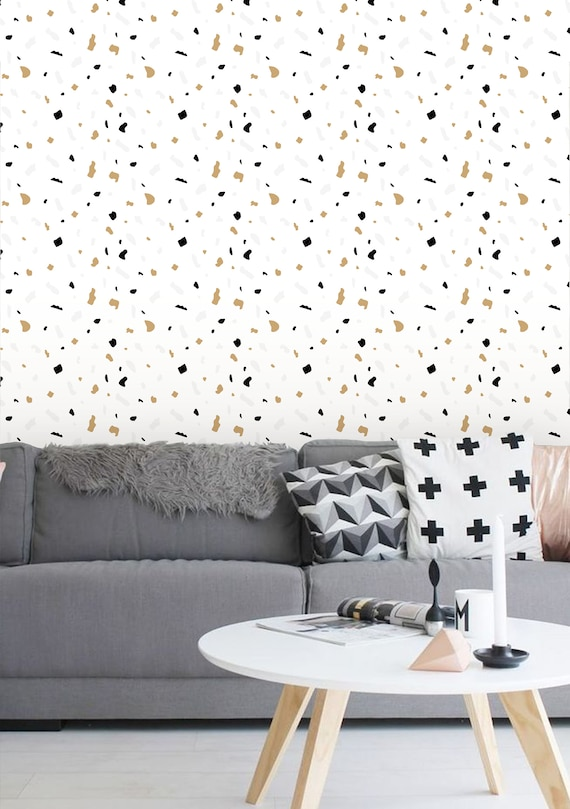 removable wallpaper peel and stick wallpaper terrazzo etsy. Black Bedroom Furniture Sets. Home Design Ideas