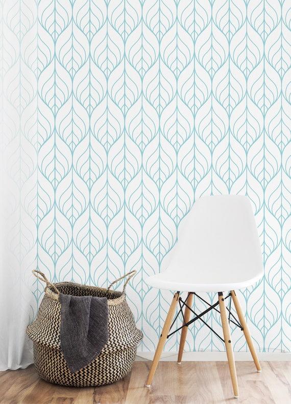 Removable Wallpaper Peel And Stick Wallpaper Aqua Wallpaper Etsy