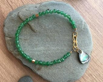 Green Agate Bracelet, Simple Bracelet