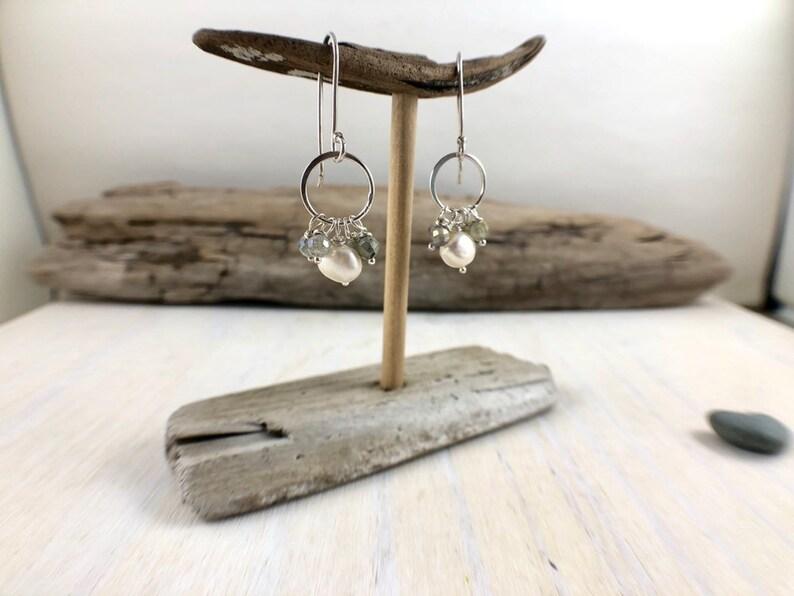 Labradorite Earrings Medium Hoops Bridal Earrings Gemstone Earrings Labradorite and Freshwater Pearl Earrings Hoop Earrings