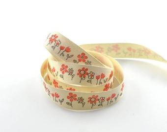 Ribbon 15 mm flower pattern cotton twill