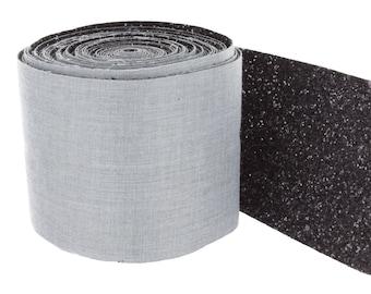 50cm width 10 cm black sequined fabric