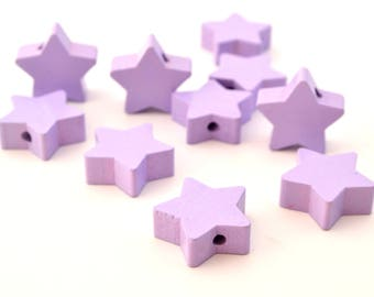 1 star purple wooden bead