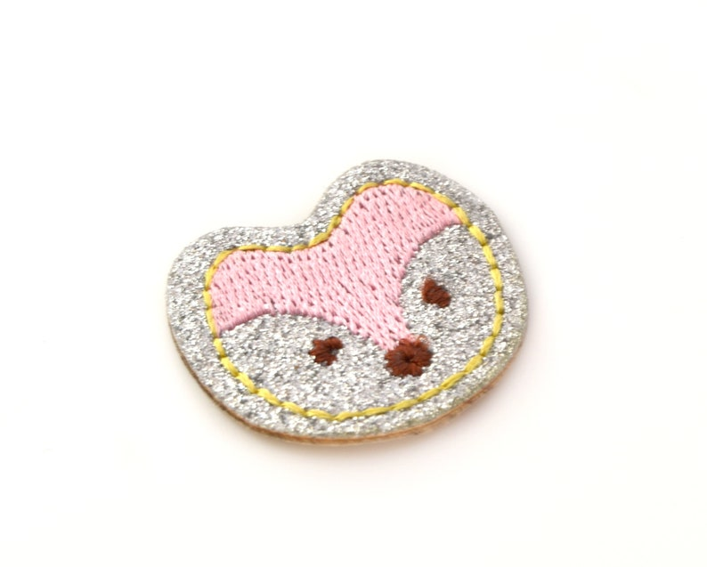 Applique badge patch thermo glittery fox etsy