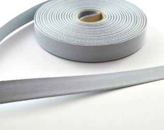 14.5 mm grey cotton twill tape