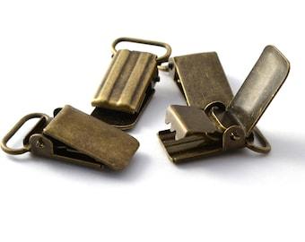 Set of 4 clips straps antique 3.3 x 1.8 cm