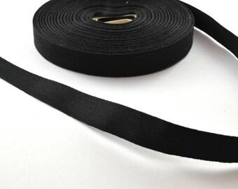 Twill cotton 14.5 mm black ribbon