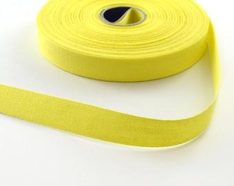 Twill cotton 14.5 mm yellow ribbon