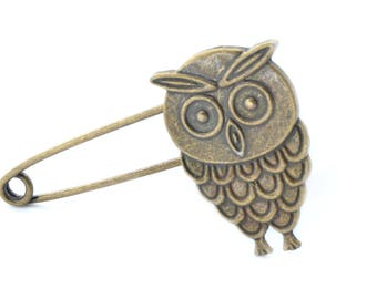 Support antique bronze OWL brooch pin