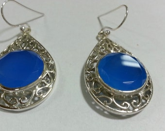 semi precious stone earrings with  silver