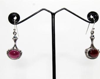Garnet cab earrings 925 sterling silver earrings