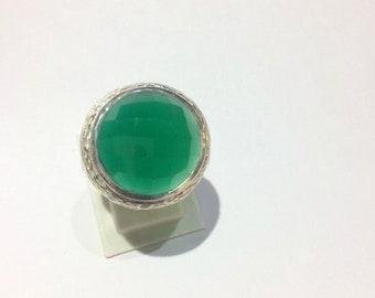 925 sterling silver rings gemstone green onyx rings Handmade rings gift rings