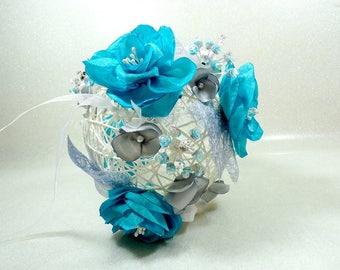 Bouquet de mariée turquoise bouquet bijoux boule fleurie blanc gris perles