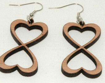 heart earrings wood