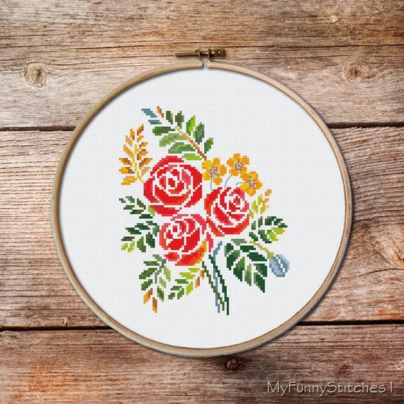 Bouquet Of Flowers Cross Stitch Pattern Cross Stitch Pattern Etsy Simple Cross Stitch Flower Patterns