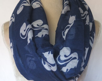 507f9e85ee0 Navy Cute Squirrel Print Infinity   Long Scarf Women s Accessories Gift  Ideal