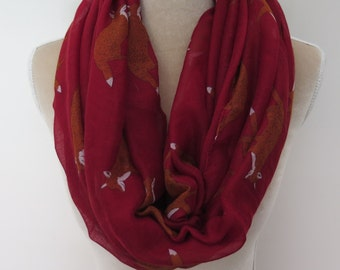 Red Fox Print Infinity / Long Women's Scarf Gift Ideas for Her